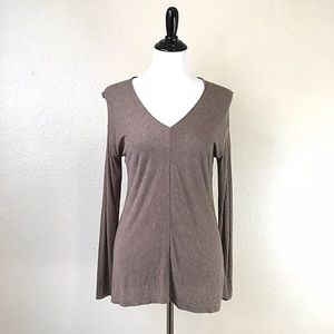 Vince Knit Long Sleeve V Neck Top Heathered Brown